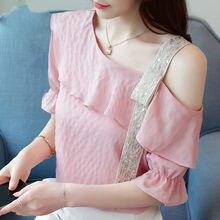 Camisas das mulheres mais mulheres do tamanho de Metade do Alargamento Da Luva chiffon blusa tops e blusas das