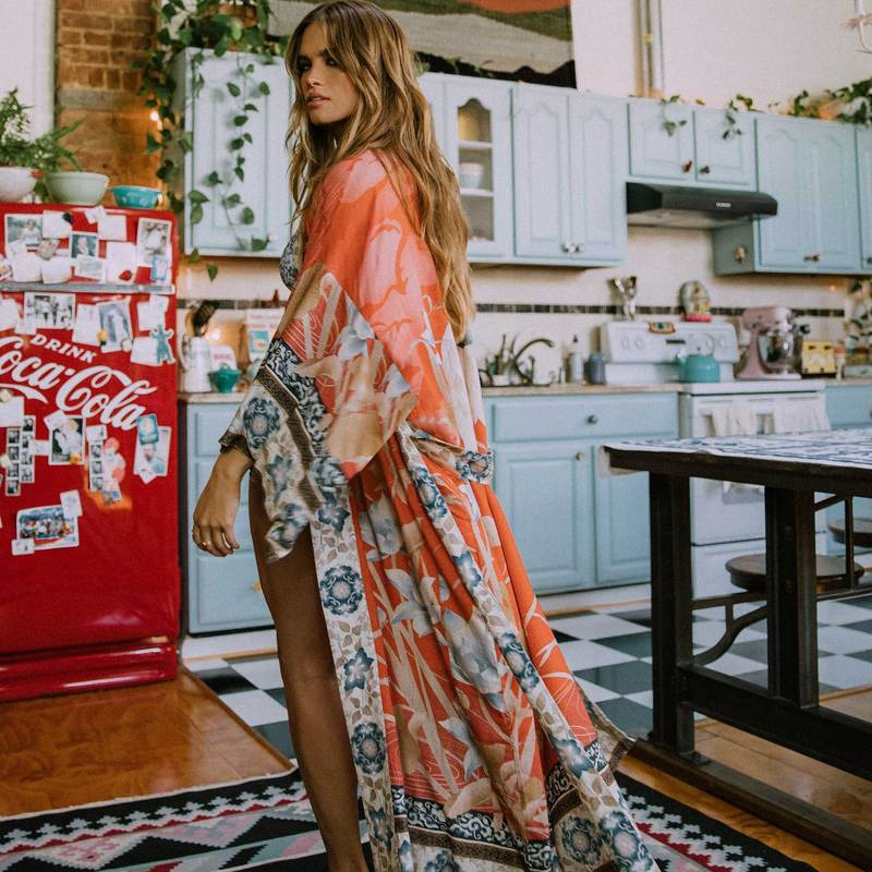 Bohemian Printed Bikini Cover-ups Elegant Self Belted Kimono Dress Tunic Women Plus Size Beach Wear Swim Suit Cover Up Q1228 10