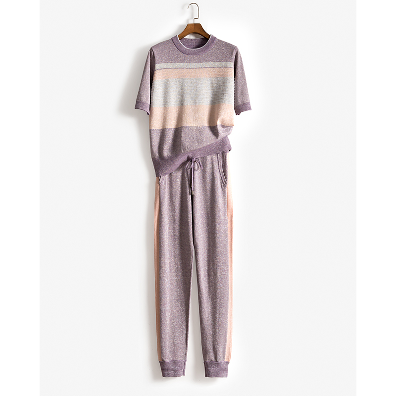 2 Pieces Golden Ice Silk Knitted Hit Color Cool Wool Suits Short Sleeve Sweater +  Trousers Leisure Two-pieces Suits F900