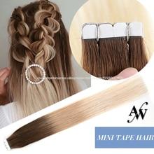 Мини-лента AW для наращивания волос, прямая 100% натуральная машинка для наращивания человеческих волос, невидимая Реми-лента для наращивания ...