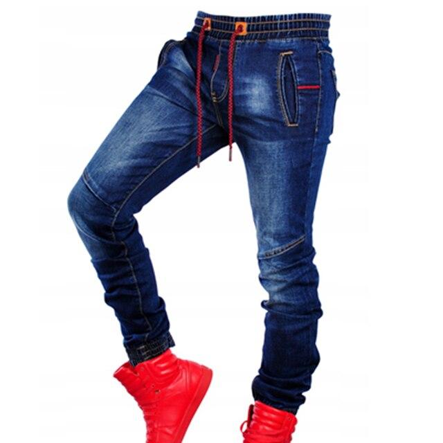 Pantalones vaqueros elásticos de talla grande para hombre, Vaqueros ajustados informales, clásicos, de cintura azul, elásticos, articulables, a la moda, Vaqueros simples 4