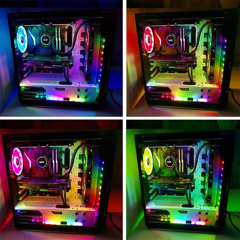 2 パック RGB Led ライトストリップマザーボード制御/PC コンピュータケース磁気アドレス可能 Led ストリップキットで 5 12V 3pin RGB ヘッダ
