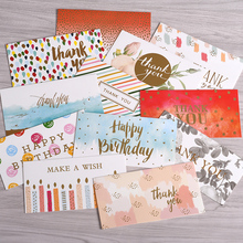 10sets Simple Greeting Card Hot Stamping Blessing Birthday Thanks To Universal Small Wholesale