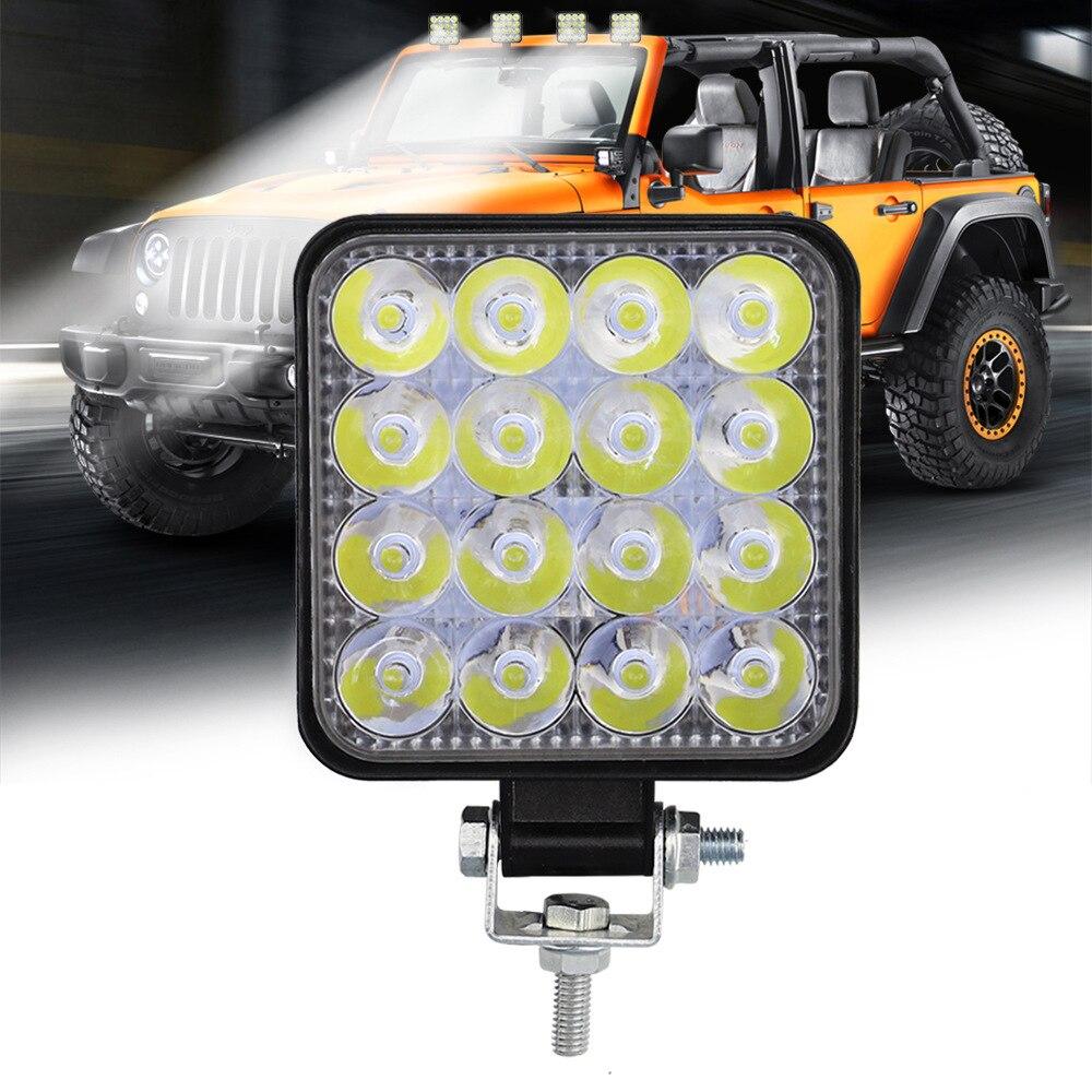 2 шт. 48 Вт 16 светодиодный автомобильный светильник, рабочий светильник для внедорожников, квадроциклов, тракторов, лодок, грузовиков, экскав...