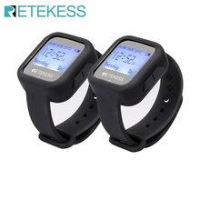 Retekess-receptor de reloj inalámbrico TD106, resistente al agua, llamada de camarero, restaurante, buscapersonas, equipo de 433MHz para cafetería, oficina y Bar, 2 uds.