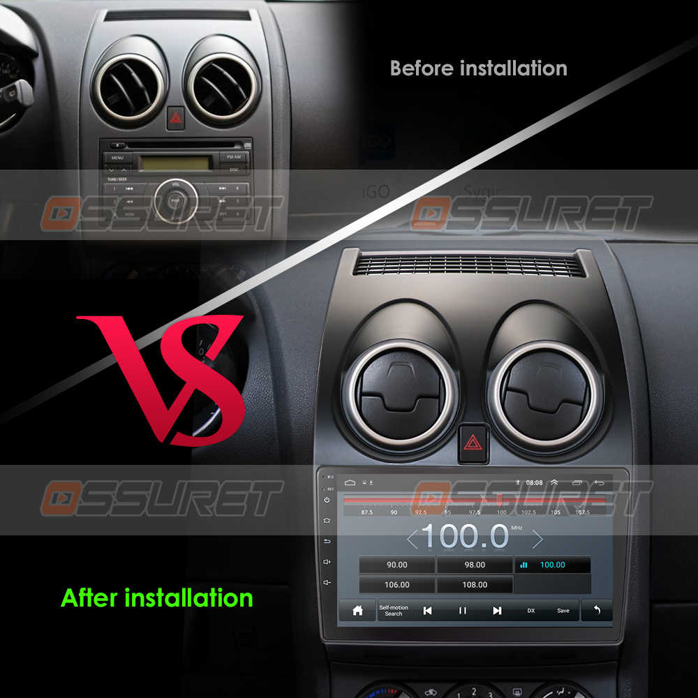 アンドロイド10車ラジオマルチメディアビデオプレーヤーナビゲーションgps日産キャシュカイJ10 2006 2007 2008 2009-2013なし2 din dvd
