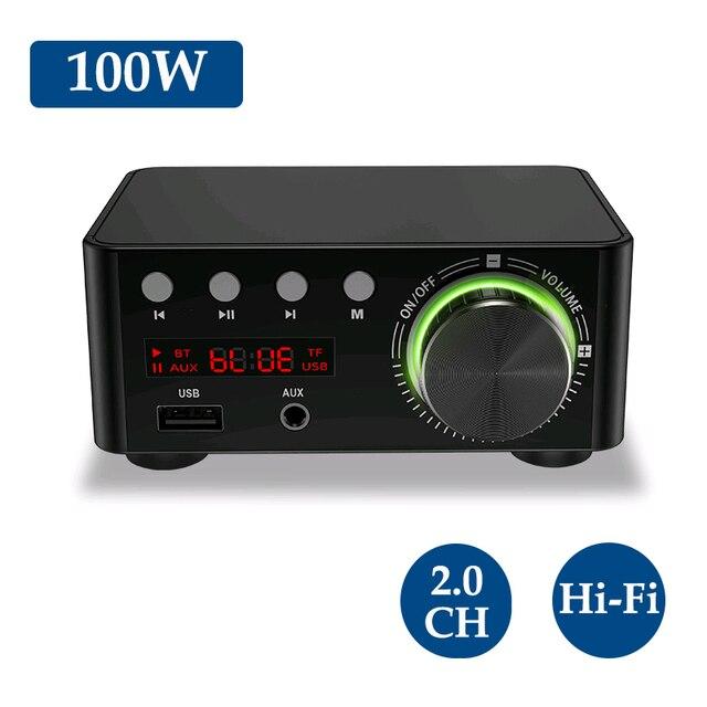 Novo bt5.0 amplificador digital classe d potência amplificador casa 100w estéreo de alta fidelidade som amplificador áudio suport aux tf mp3 player