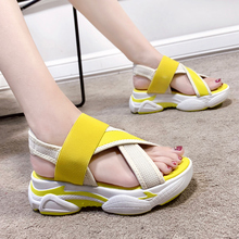 Candy Color Platform Wedge Sandals Summer Women Shoes Open Toe Thick Sole Sport Sandals Sweet Lovely Beach Shoes Women 2020 timetang new 2018 summer shoes women sandals flat platform shoes sweet women s beach sandals thick sole big size 43 c187