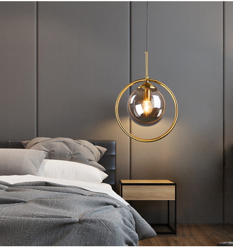 Gold Simple American Style Nordic Lighting Bedroom Pendant Light Glass Dining Room Corridor Living Room Fashion Retro Lamp Led
