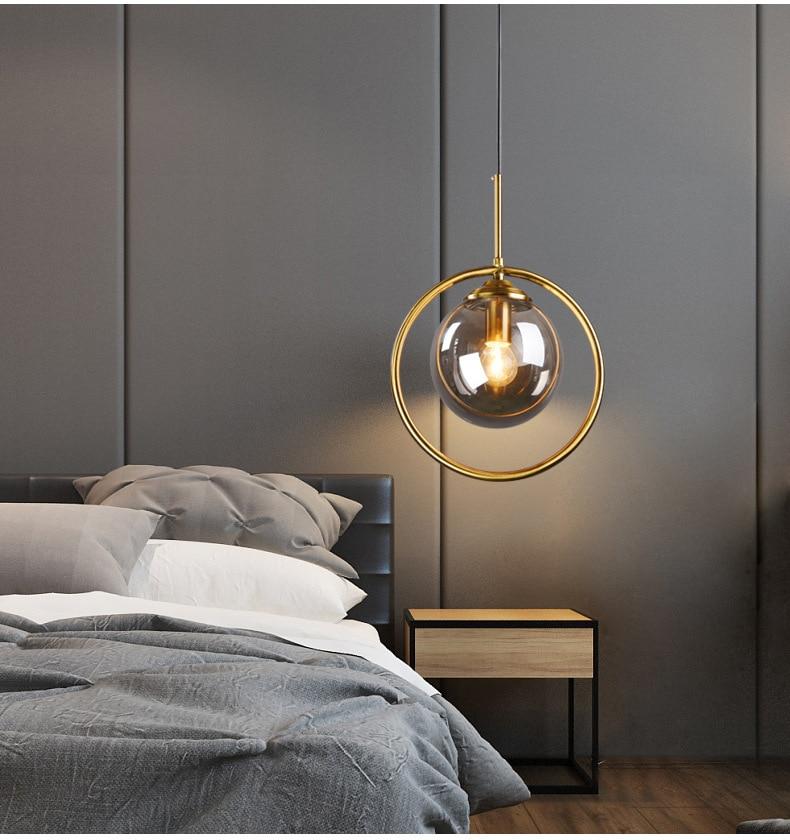 Gold Simple American Style Nordic Lighting Bedroom Pendant Light Glass Dining Room Corridor Living Room Fashion Retro Lamp Led