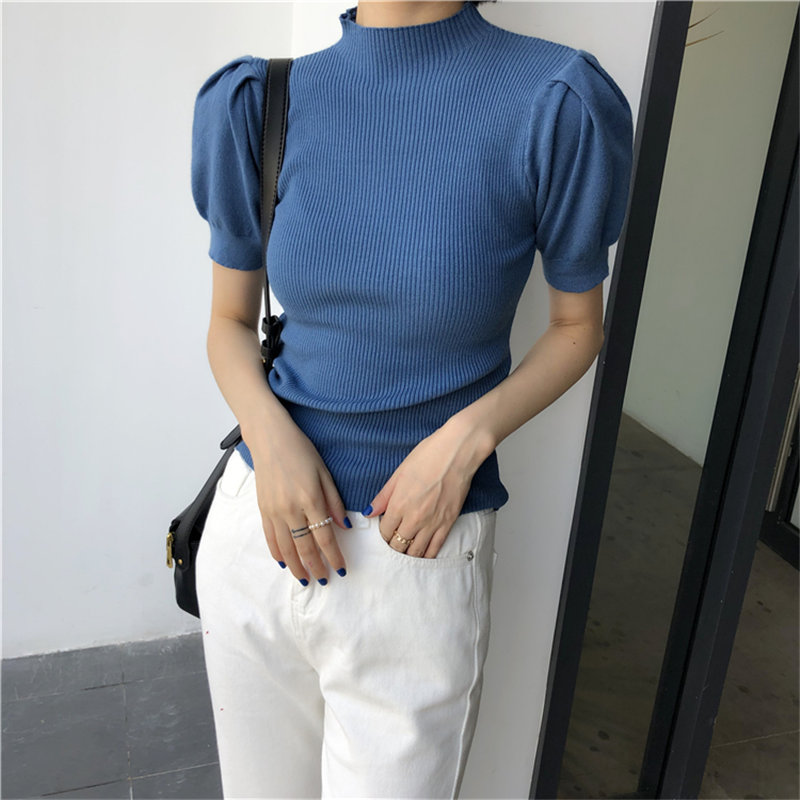 HziriP 2020 Elegant Soft All-Match Women Knitted Basic Loose Short-Sleeved Brief Sweet Stylish Girls Cute Chic Gentle Sweaters
