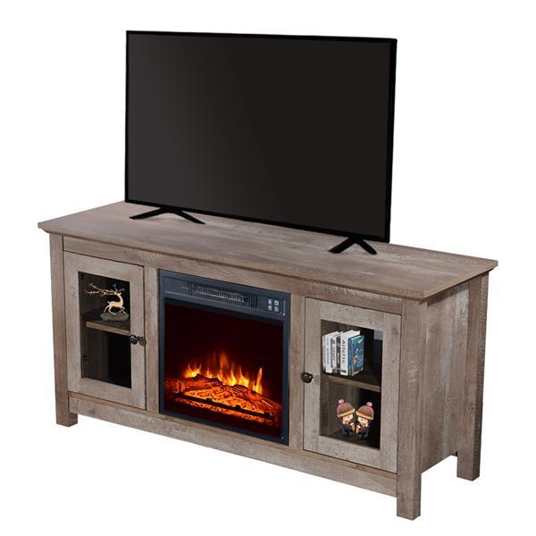 51 inch Log Cyan Fireplace TV Cabinet 5
