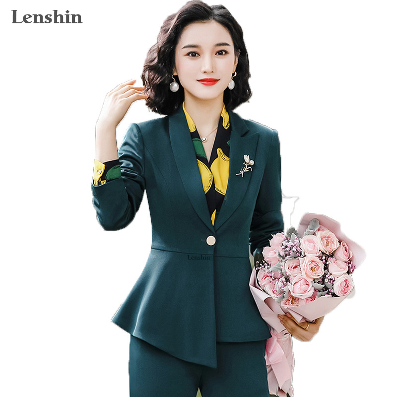 2 Piece Set Women Pant Suits Office Lady Work Wear Formal Female Asymmetrical Single Button Blazer With Flares Pant