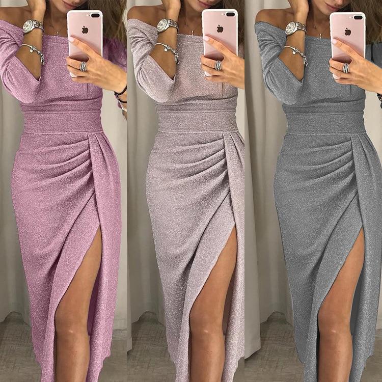 Elegant Pink Apricot Cocktail Dress Strapless Off Shoulder Long Sleeve 2020 Solid Color Tea-length Plus Size Modest Party Dress