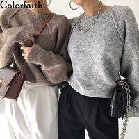 Colorfaith Neue 2021 Frühling Winter Frauen Pullover Gestrickte Oversize Wilden Modische Warme Vintage Femininas Pullover Tops SW921