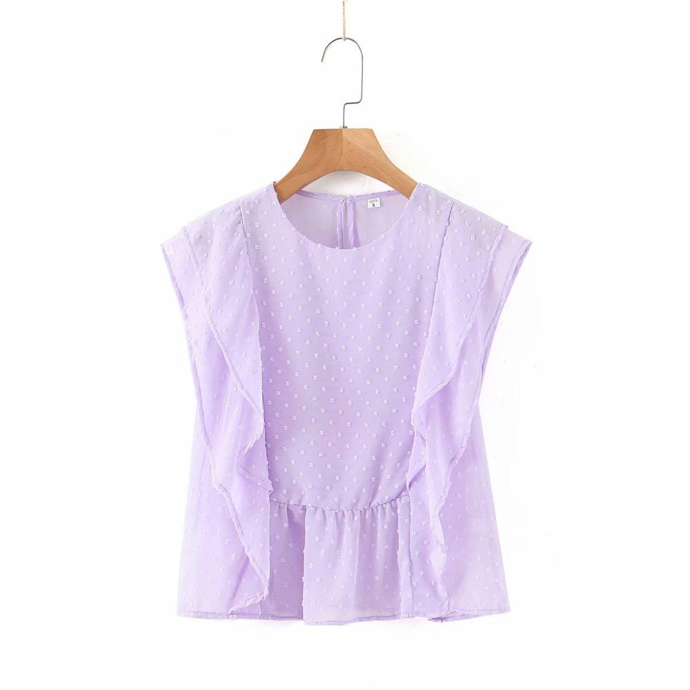 New Women Fashion Round Collar Solid Cascading Ruffles Casual Smock Blouse Ladies Chic Dots Stitching Chiffon Shirts Tops LS6539