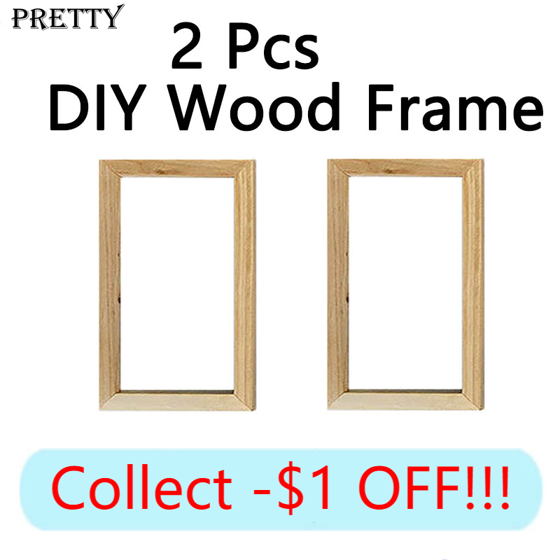 Large Size DIY Custom Photo Frame 2 Pcs Canvas Painting Wall   Art Picture Wood Frames Natural Wooden Poster Framed Home Decor