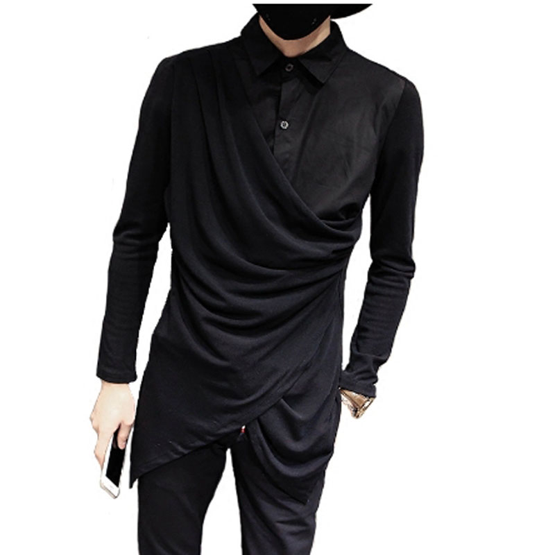 Nightclub DJ Singer Stage Costume Hip Hop Punk Men Shirt Irregular Design Knit Patchwork Blouse Fake Two Piece Gothic Shirts