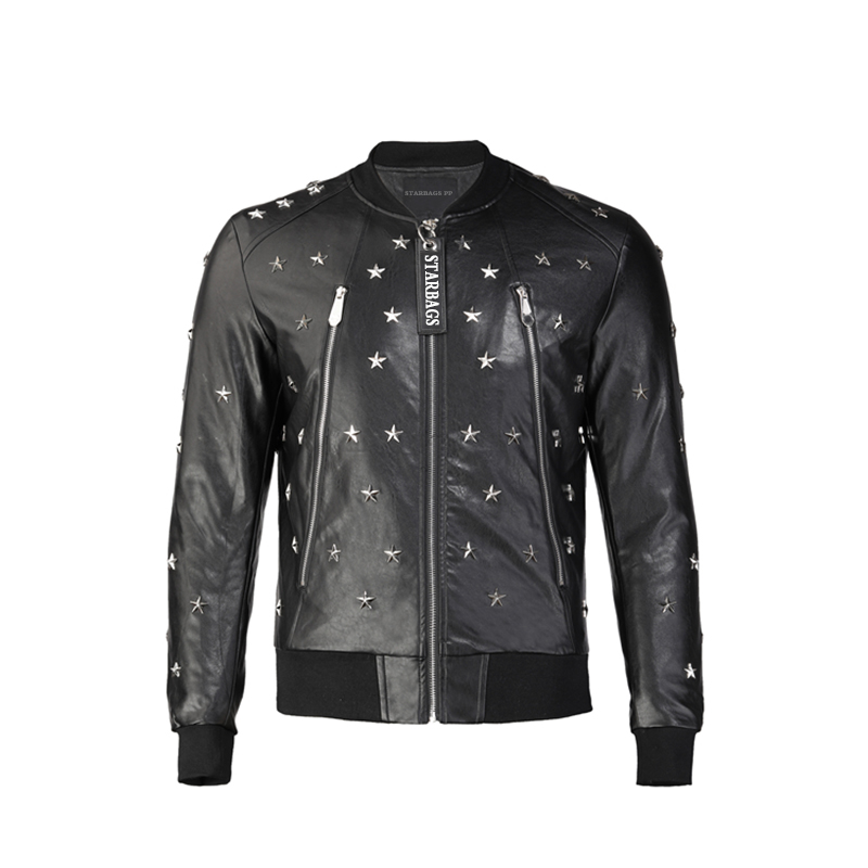 Starbags pp leather men's clothing imitation leather PU skull Philip prang coat autumn and winter leisure fashion trim motorcycl