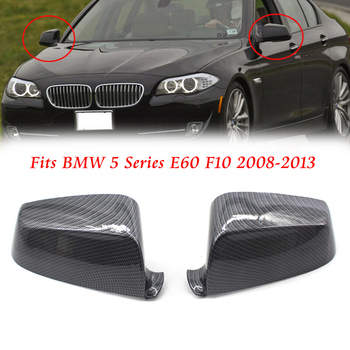 Car Replacement Front Door Wing Mirror Cover Trim Carbon Fiber For BMW 5 series E60 2008 2009 2010 2011 2012 2013 51167187431