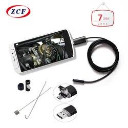 Mini câmera endoscópio 1 m/2 m/3.5 m/5 m/10 m pc android 7mm lente à prova dwaterproof água inspeção borescope micro otg usb carro câmera endoscópio