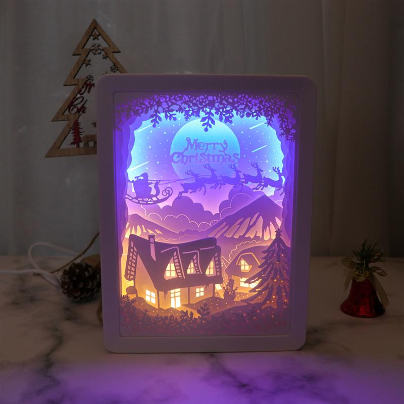 Merry Christmas 3D Shadow Paper Sculptures Light Boxes Unique USB Paper-Cut Light Lamp LED Night Light USB Charging Bedside Lamp
