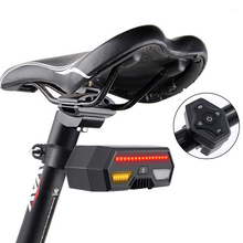 цена на Bicycle Rear Light Laser LED Indicator Turn Signal Taillight USB Wireless Remote Control Bike Seatpost Lamp