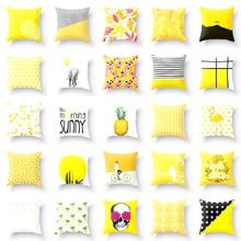 Decorative Pillow Case Elife 45*45cm Yellow Pattern Polyester Cotton Home Decoration Car Cushion Cover Sofa Throw Pillowcase