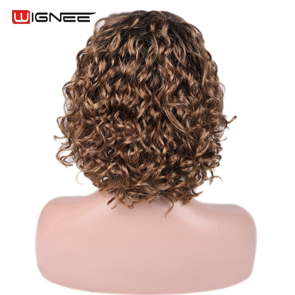 Wignee Curly Human Hair Wig For Black White Women Bleached Knots Brazilian Remy Hair Lace Front Human Wig Pre Plucked Ombre Wig in Human Hair Lace Wigs from Hair Extensions Wigs
