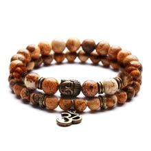 PULSERAS CON colgante de Yoga Vintage para mujer, pulsera de meditación de Buda religioso, joyería para hombre, pulsera de oración de piedra natural