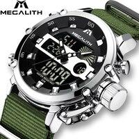 Relogio Masculino MEGALITH Sport zegarki wodoodporne mężczyźni Luminous podwójny alarm z wyświetlaczem Top marka luksusowy zegarek kwarcowy hurtownie 8051