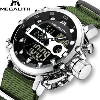Relogio Masculino MEGALITH Sport zegarki wodoodporne mężczyźni Luminous podwójny Alarm z wyświetlaczem Top marka luksusowy zegarek kwarcowy hurtownie 8051 tanie i dobre opinie 22 5cm Podwójny Wyświetlacz 3Bar Klamra CN (pochodzenie) ALLOY 13mm Hardlex Kwarcowe Zegarki Na Rękę Velvet NYLON 45mm