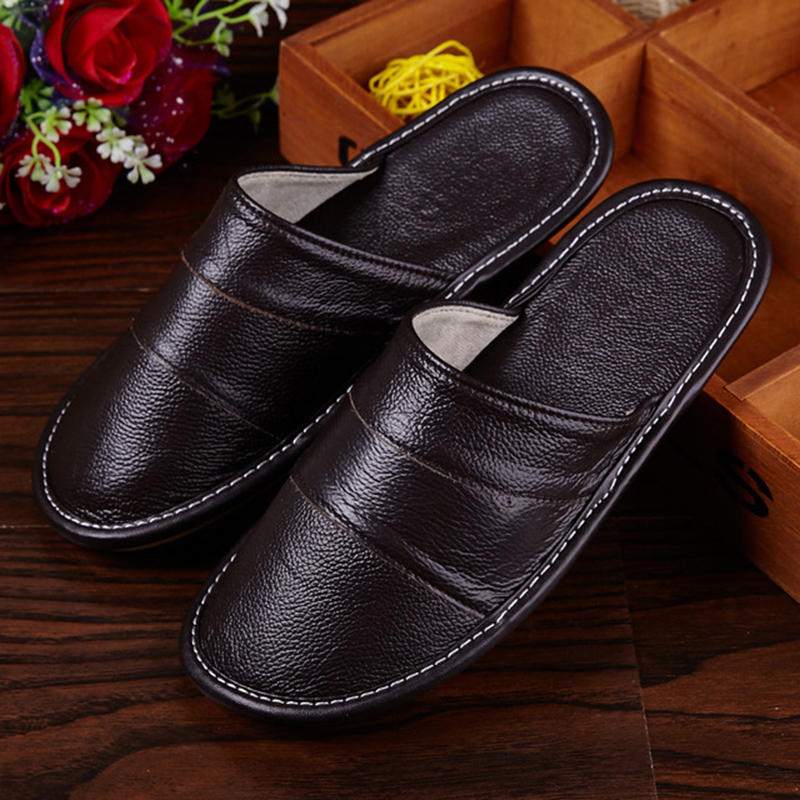 Plus Size 39-44 Genuine Leather Spring And Autumn Home Slippers Non-Slip Thick Solid Color House Shoes Sewing Thread Men Slipper