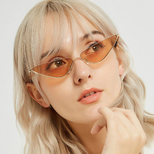 Fashion Metal Cat Eye Sunglasses Women Small Frame Triangle Red Sun glasses Women Eyewear Feminino Oculos De Sol  Lunette Soleil triangle insert metal cat eye sunglasses