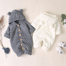 Winter Warm Baby Clothes Funny Cartoon Knitted Newborn Girls Rompers Hooded Long Sleeve Infantil Kids Boys Jumpsuits Kids Outfit newborn winter baby rompers girls windproof rompers children warm outdoor rompers kids jumpsuits