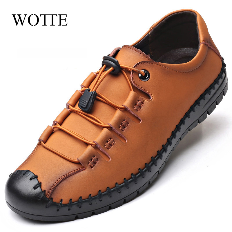 WOTTE Men Shoes Flats Mens Leather Shoes Breathable Casual  Shoes Men Rubber Men Casual Shoes Brand Male Fashion Lacoste Shoes