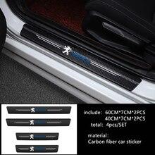 4 шт. двери автомобиля порог углерода протектор защита дверных порогов наклейки для Peugeot 107 207 307 407 308 607 508 3008 аксессуары