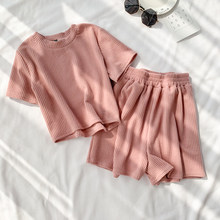 Three Piece Sets Women Tank Crop Tops and Shorts Outfit 2020 Summer Pink Outfits Tracksuit Clothes 3 Pcs Sportsuit Sweatsuit()
