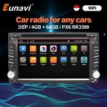 Eunavi 2 Din Android 10 reproductor Multimedia Dvd Radio GPS de navegación de 2din pantalla táctil 4G 64GB DSP Audio por WIFI BT5 USB