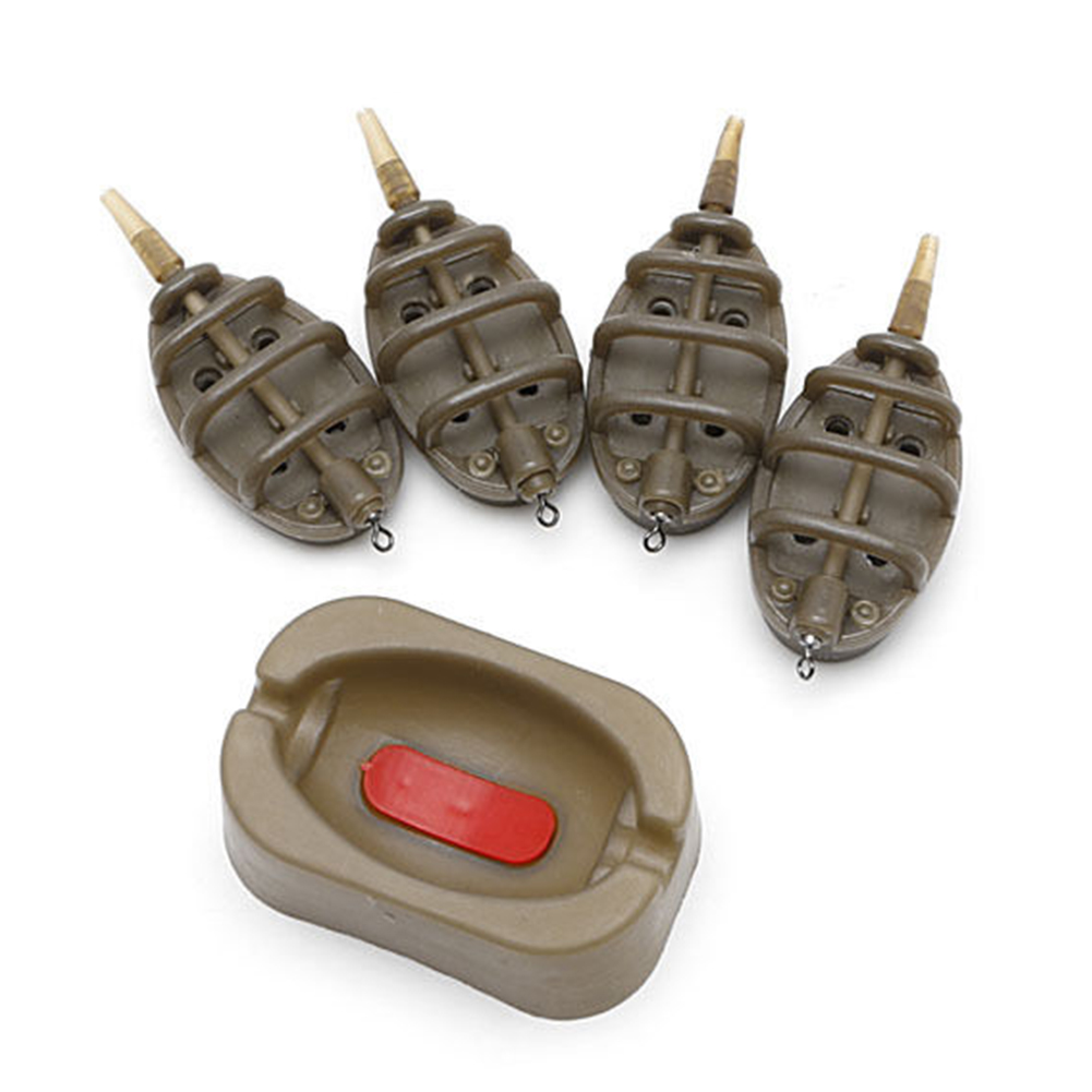 SDYDAY 15/20/25/35g 30/40/50/60g Carp Fishing Inline Flat Method Feeder 4 Feeders Quick Release Mould Set
