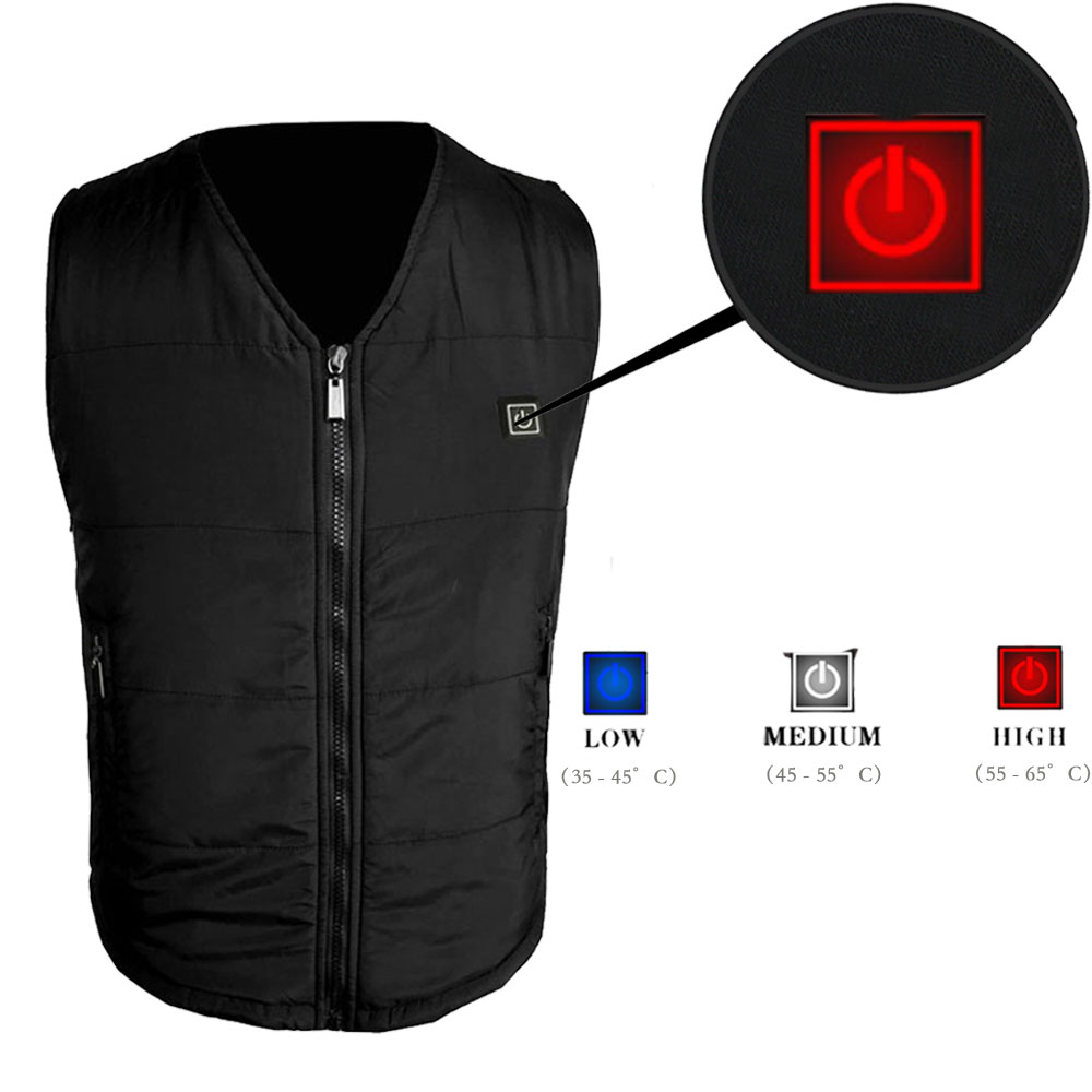 Heated Vest Electric Heating Vest Winter Three-Gear Adjustable Temperature Heating Warm Vest for Outdoors Riding Ski Fishing Heating Hiking Travel