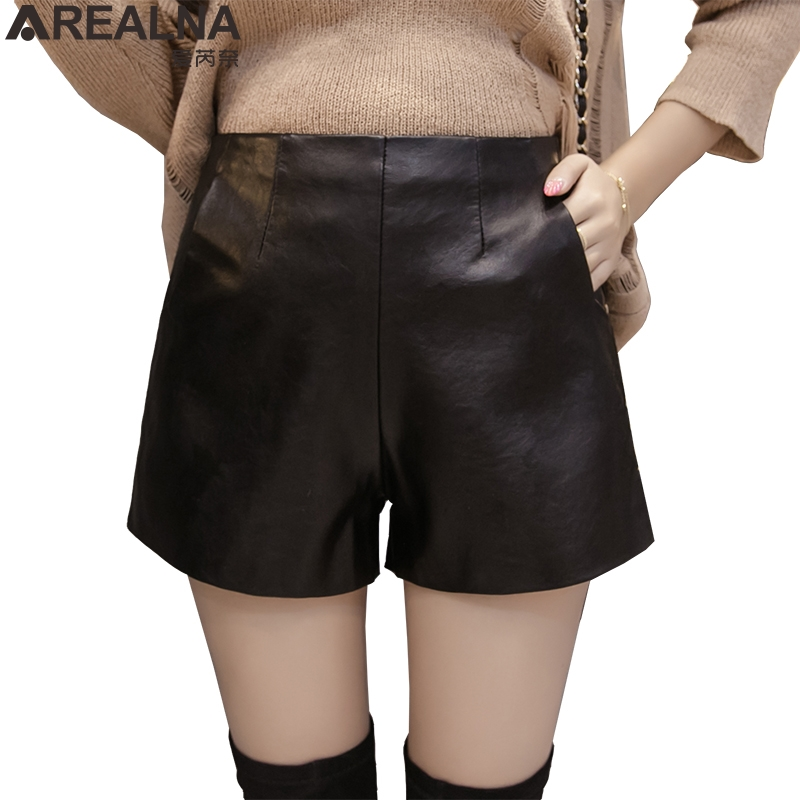 2019 New Womens Black Shorts PU Faux Leather Autumn Winter Ladies High Quality Wide Leg Loose Short Pants Pockets Short Femme