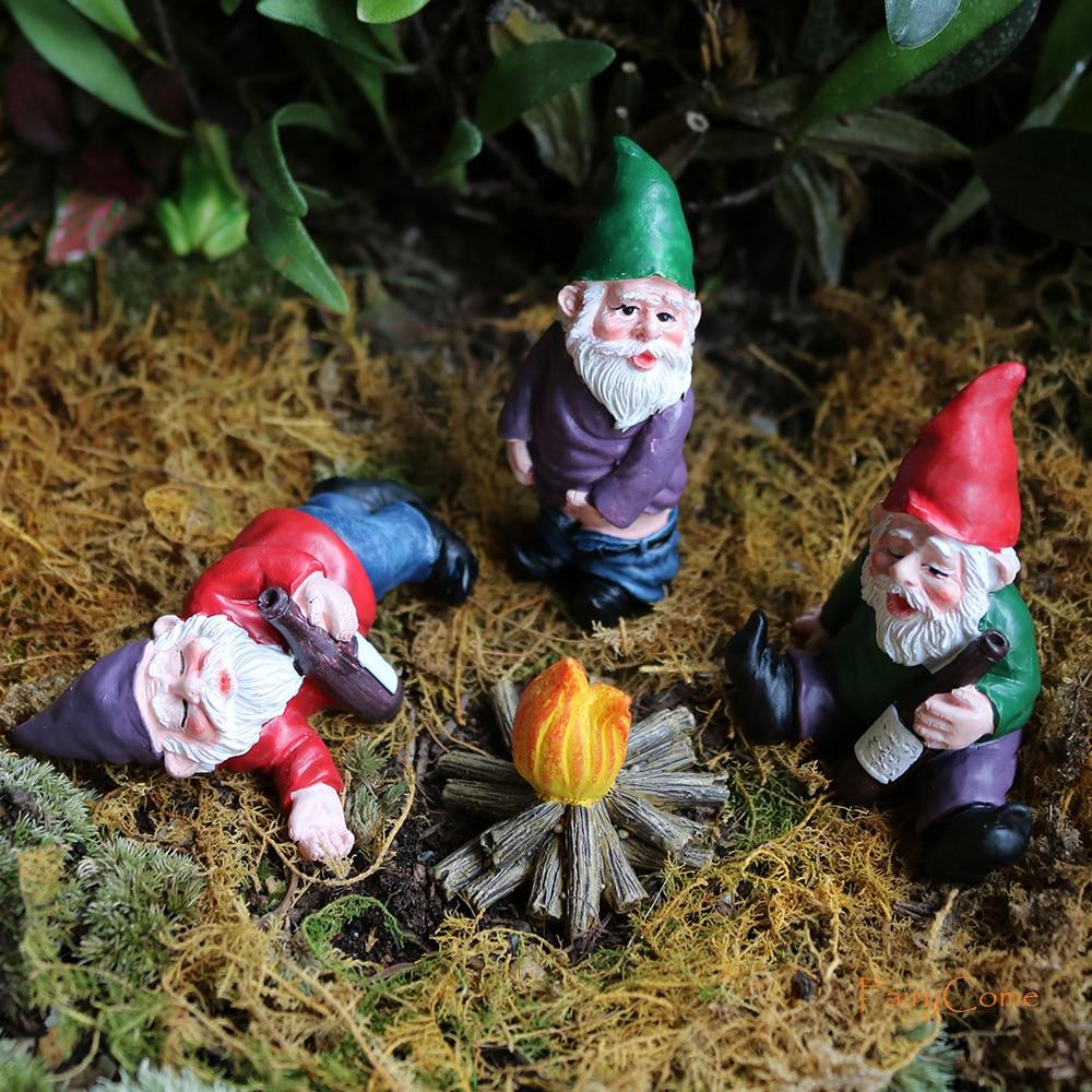 FairyCome-Mini figuras de resina de nome para jardín, figuras de Hada de jardín, gromos en miniatura divertidos, Kit de Micro enano de jardín para terrario