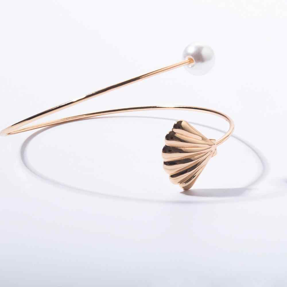 SHIXIN קסמי עליון זרוע צמידי צמידים לנשים אופנה קיץ פגז/כוכב ים/פרל קאף צמידי זהב פתוח Armband תכשיטים
