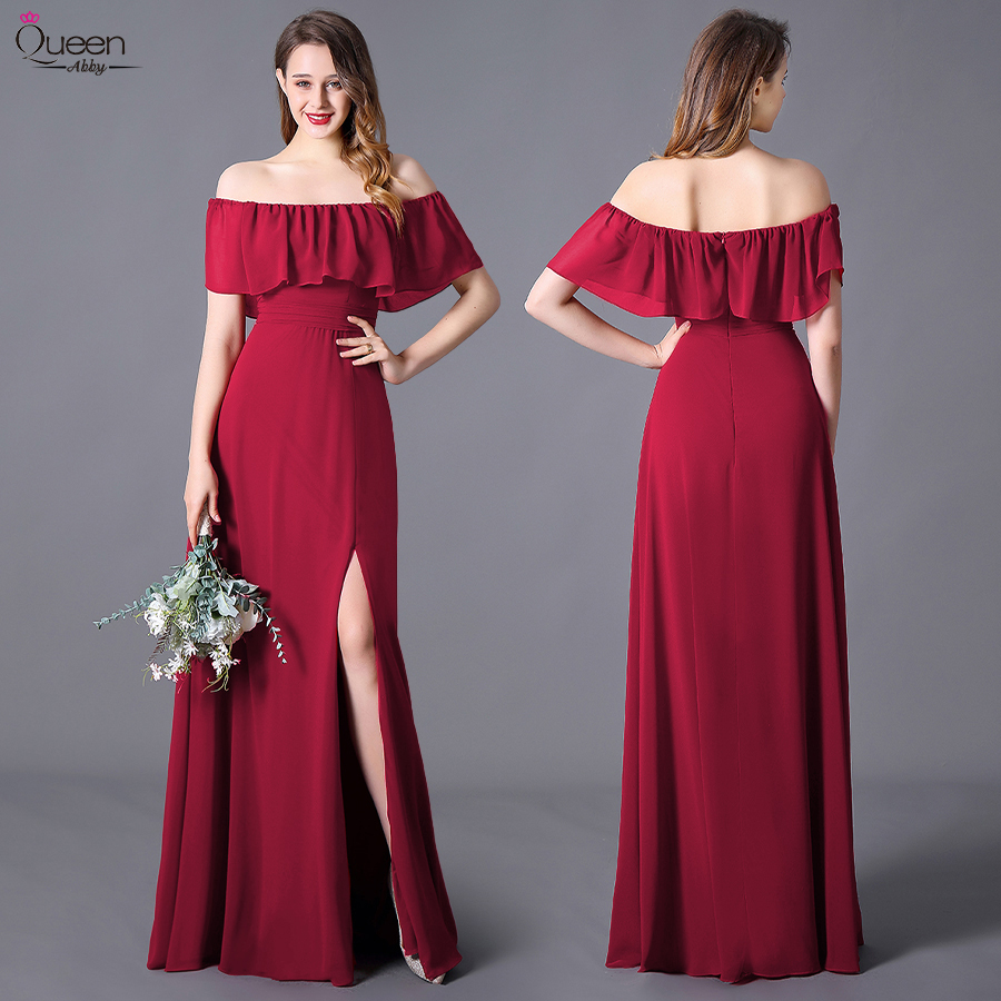 Split Front Evening Dresses Long Ruffles Burgundy Long Elegant Party A-Line Sleeveless New Wedding Guest Gowns Robe De Soiree