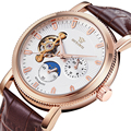 OUYAWEI классический Для мужчин фазы Луны автоматические роскошные часы Для Мужчин Скелет Мода Световой механические часы  кожа relogio masculino