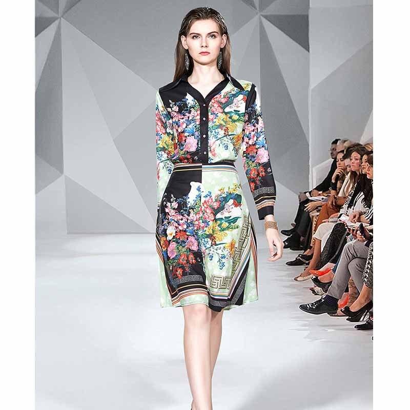 2019 Europe And America New Style WOMEN'S Dress High-End Catwalks Printed Long Sleeve Shirt + Medium-length Skirt Two-Piece Set