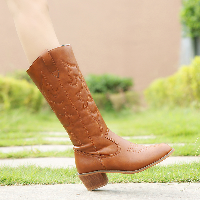 Image 3 - Lucyever 2019 Autumn Winter Vintage PU Leather Cowboy Boots for Women Fur Inside Slip on Riding Mid Calf Booties Plus SizeMid-Calf Boots   -