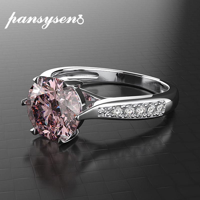 PANSYSEN Classic Real 925 Sterling Silver Jewelry Ring Pink Quartz Sapphire Emerald Wedding Engagement Rings For Women Wholesale