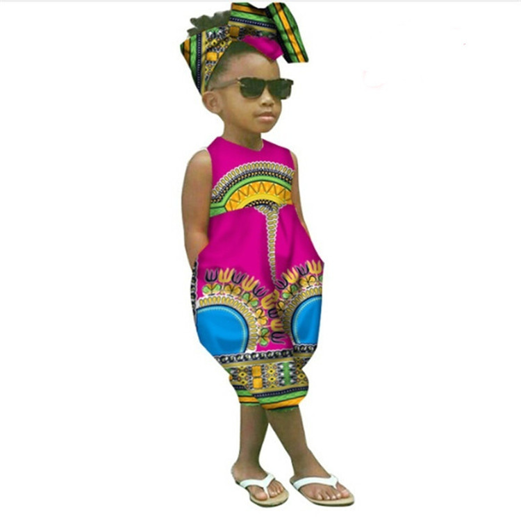 New African Girl Costume Children Dashiki Traditional National Sleeveless Jumpsuit African Print Dress + Scarf Child Gift